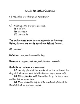 A Light For Nathan short story, questions and critical thinking