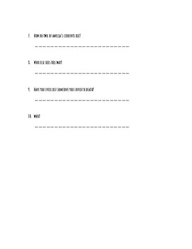 A Light In The Storm Comprehension Questions Set