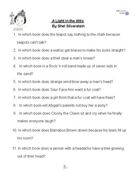 A Light in the Attic by Shel Silverstein Battle of the Books Questions