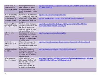 A List of Short Stories for Grade 6-12