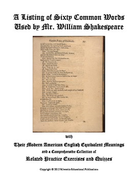 A List of Sixty Common Words Used by Shakespeare With Activities and Quizzes