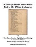 A List of Sixty Common Words Used by Shakespeare With Acti