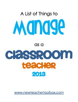 A List of Things to Manage as a Classroom Teacher
