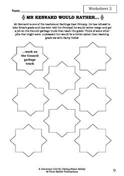 Literature Unit - HATING ALISON ASHLEY - Robin Klein - Novel Study - Worksheets