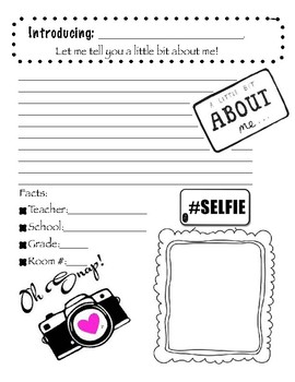 "Free A Little About Me Writing & ""Selfie"""