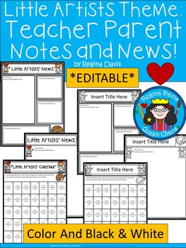 A+ Little Artists: *EDITABLE* Papers For Teacher News and Notes To Parents