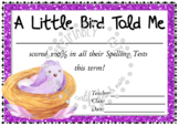 A Little Bird Spelling Award