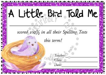A Little Bird Spelling Award