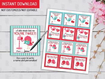 A Little Birdie Gift Tags Ideas, Tweet Classroom Exchange Cards, Bird Favor Tags
