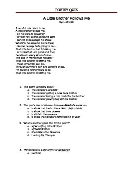 A Little Brother Follows Me - 5th Grade Poetry Quiz