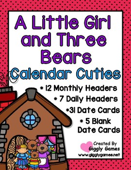 A Little Girl and Three Bears Full Year Calendar Cuties