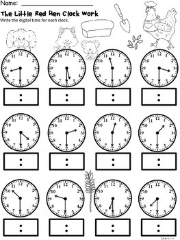 A+ Little Red Hen Analog Clock & Digital Clock Work (Hour and Half Hour)