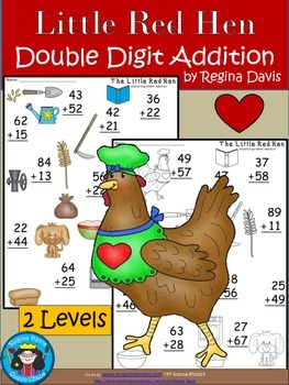 A+ Little Red Hen: Double Digit Addition...2 Levels