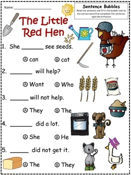 A+ Little Red Hen: Fill In the Blank.Multiple Choice Sight Word Sentences