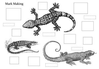 A Lizard Mark Making Worksheet
