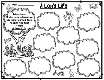 A Log's Life by Wendy Pfeffer Brainstorming Recording Form