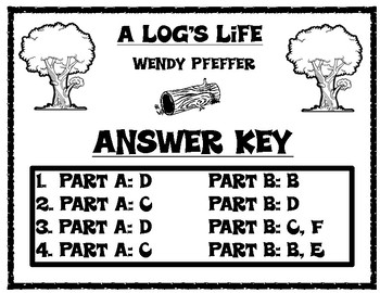 A Log's Life by Wendy Pfeffer EBSR Comprehension Question Set and Writing Task