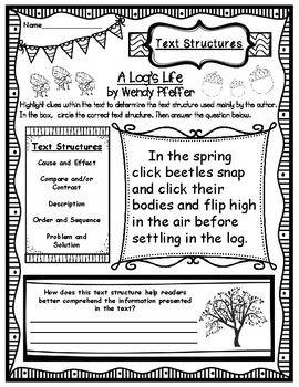 A Log's Life by Wendy Pfeffer Text Structures Activity Sheets