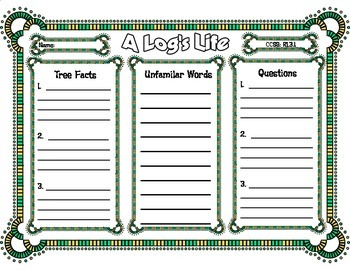 A Log's Life by Wendy Pfeffer 3 Column Graphic Organizer