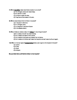 A Long Walk to Walk to Water Chapter 16 Quick Quiz