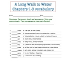 A Long Walk to Water, 1-3 vocabulary quiz