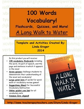 A Long Walk to Water-100 Words Flashcards, Quizzes, Word Wall, Online games!