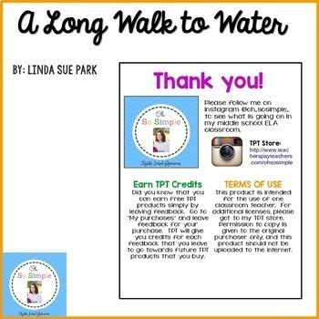 A Long Walk to Water Chapter Graphic Organizers- EDITABLE