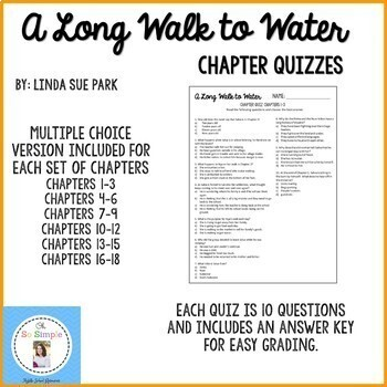 A Long Walk to Water Chapter Quizzes-EDITABLE