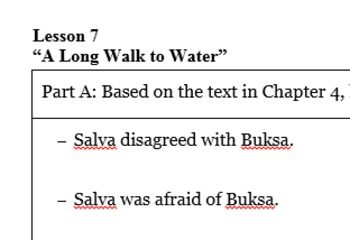 """A Long Walk to Water"" Lesson 7 handout"