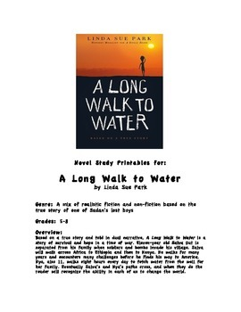 A Long Walk to Water - Novel Study Printable Learning Activities