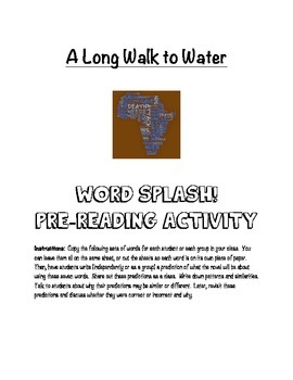 A Long Walk to Water Pre-Reading Word Splash Activity