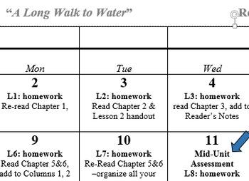 """A Long Walk to Water"" Reading Calendar"
