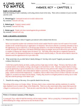 A Long Walk to Water - Student Workbook Pack - Chapter Questions & Vocab