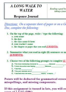 A Long Walk to Water Summary Assignment