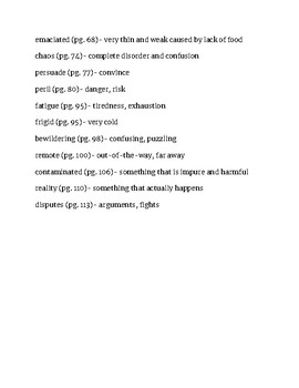 A Long Walk to Water Vocabulary List