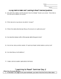 """A Long Walk to Water and """"Learning to Read"""" Seminar Questions"""