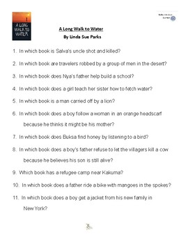A Long Walk to Water by Linda Sue Parks Battle of the Books Questions