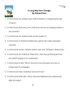 A Long Way From Chicago by Richard Peck Battle of the Books Questions