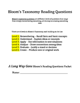 A Long Way Gone Bloom's Taxonomy novel questions
