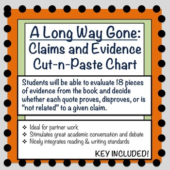A Long Way Gone: Claims and Evidence Cut-n-Paste Chart
