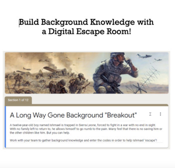 A Long Way Gone Digital Escape Room/Breakout -- Fun Webquest Alternative!