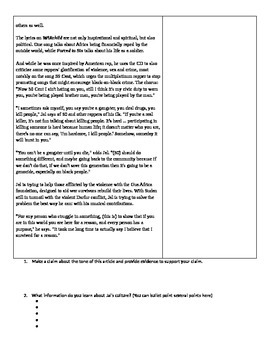 A Long Way Gone: Supplemental Close Reading Activity with Child Soldier Rapper