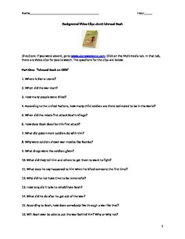 A Long Way Gone Video Clips (Pre-Reading Activity)