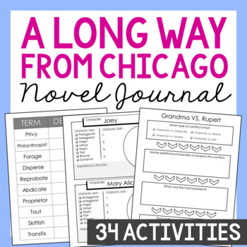 A Long Way from Chicago Interactive Notebook Novel Unit Study Activities