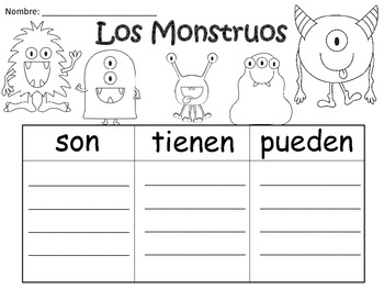A+ Los Monstruos: Spanish Graphic Organizers