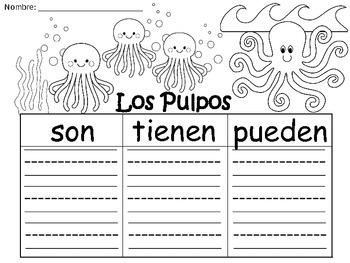 A+ Los Pulpos...Three Spanish Graphic Organizers