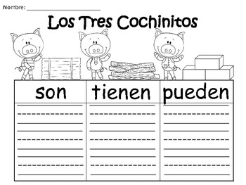A+ Los Tres Cochinitos: Spanish Graphic Organizers
