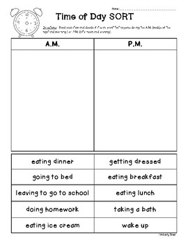 A.M. & P.M. Math / Telling Time Cut & Paste Sorting Worksheet