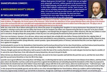 A MIDSUMMER NIGHT'S DREAM: SHAKESPEAREAN COMEDY