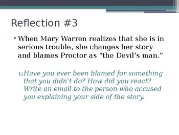 A. MILLER / THE CRUCIBLE / A3 REFLECTIONS